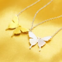 Simple small butterfly 925 sterling silver necklace,a perfect gift