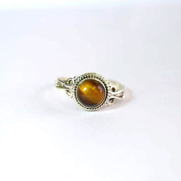 Tiger eye ring, silver ring,   stone ring, silver Tiger eye ring,92.5 sterling silver, Natural tiger eye stone Silver Ring,