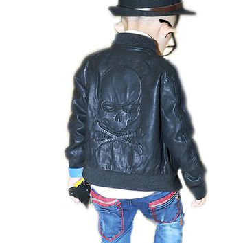 Toddler Leather Jacket 2017 Children's For Boys Pu Leather Jacket Motorcycle PU Leather Jacket Lapel Cool Outerwear Coats 4-9T