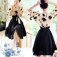 S--XL Hot woman elegant chiffon slim full dress twinset embroidery puff sleeve pleated summer two-piece dress 154 = 1932673668