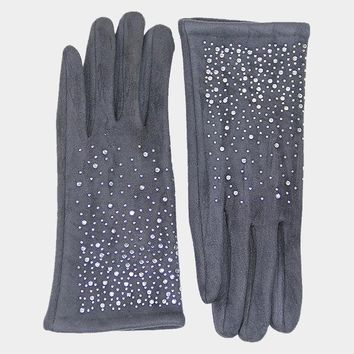 Solid Tiny Crystal Stones Touch Gloves (Click For More Colors)