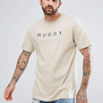 ASOS Oversized T-Shirt With Muggy Print In Beige at asos.com