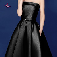 Black Bowknot Waist Lacing Back Strapless Prom Skater Dress
