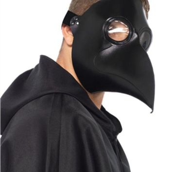 LMFH3W Faux leather plague doctor mask in BLACK