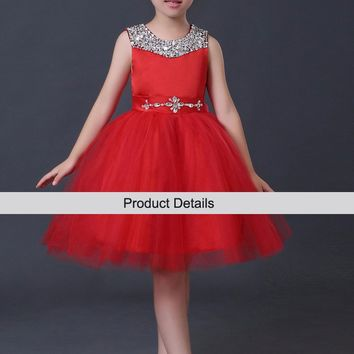 2015 New Arrival Little Girl Ball Gown Scoop Red Tutu Glitz Pageant Dress Sequin Flower Girls Dresses For Children Prom Gown