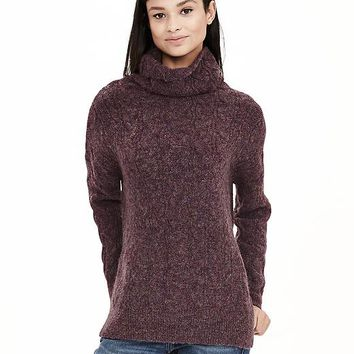 Banana Republic Womens Cable Knit High/Low Turtleneck Sweater Tunic