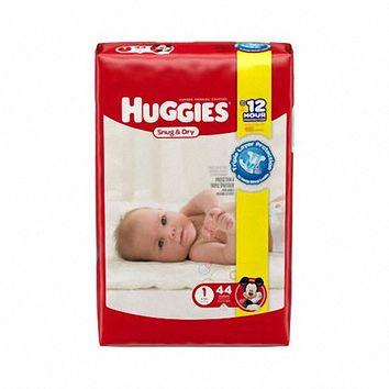 Size 1 Heavy Absorbency Snug & Dry Tab Closure Baby Diaper (8-14 lbs) | Huggies #40653