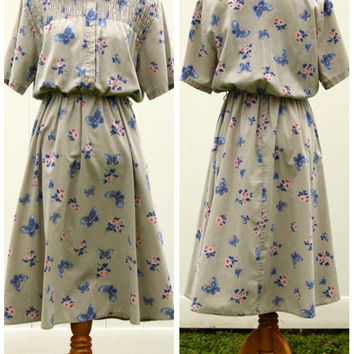 Vintage 80s Butterfly Foral Shirtdress// Tan Natural Linen Dress