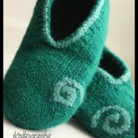 Felted Slippers for men XXL-  Size US 10.5/14 EU44/48, green, 100% virgin wool, knitted and felted