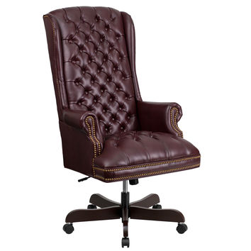 Flash Furniture High Back Traditional Tufted Burgundy Leather Executive Swivel Office Chair [CI-360-BY-GG]