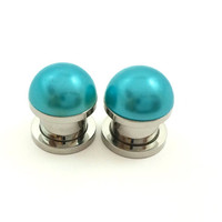 Teal pearl plugs / 2g, 0g, 00g, 1/2 inch / wedding plugs / pearl gauges / colorful plugs / teal plugs / bridal gauges / teal gauges