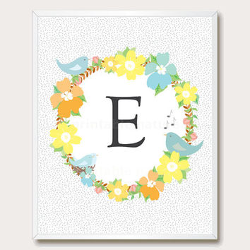 Printable Floral nursery. Letter E. Monogram print. Initial print. printable wall art. Floral monogram. Instant download.
