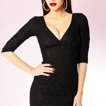 SALE Black Lace Vida wiggle Dress long sleeve