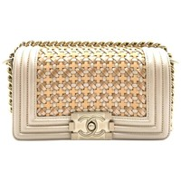Chanel Boy Champagne Gold Calfskin Leather Chain Shoulder Bag