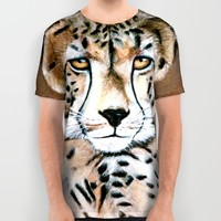 Cheetah Portrait All Over Print Shirt by Azure Avenue