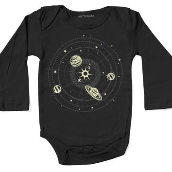 Glow in the Dark Solar System Bodysuit for babies, black with metallic ink, stars planets, space science Onesuit, rad awesome gift for all