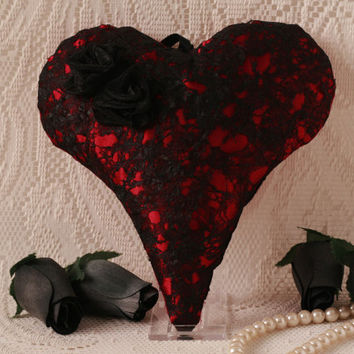 Valentines, lace heart, Goth, gift for her, hanging fabric heart, valentines day, home decor, black, heart decoration,  fiber art, unusual