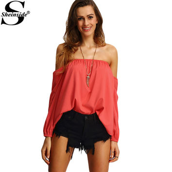 Sheinside Cute Off The Shoulder Summer Style New Sexy Tops Women Casual Shirts 2016 Ladies Red Long SLeeve Blouse