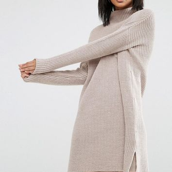 ASOS Swing Dress In Rib Knit With Top Pocket at asos.com