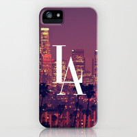 Downtown LA Vintage Skyline Typography iPhone Case by Rex Lambo | Society6