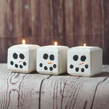 Wooden Snowman Candle Set