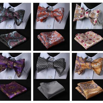 Floral Paisley Color Classic 100%Silk Jacquard Woven Men Butterfly Bow Tie BowTie Pocket Square Handkerchief Suit Set #FB