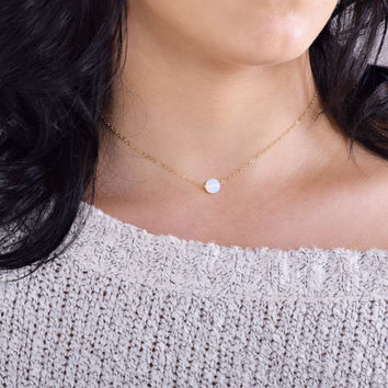 Moonstone Necklace, Delicate Gold chain Necklace, Gold Opal Bead Gemstone Necklace, Simple Circle Necklace, Round Bead on Chain, Round stone