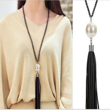 Lovely Long Beaded Chain Leather Tassel Pendant Necklace Women Office Lady Imitation Pearl Jewelry Bijoux Gifts