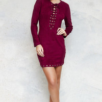 Robyn Maroon Lace Up Stud Dress by Dirty Little Hearts