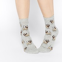 ASOS Ankle Socks With Unicorn Pug Design at asos.com