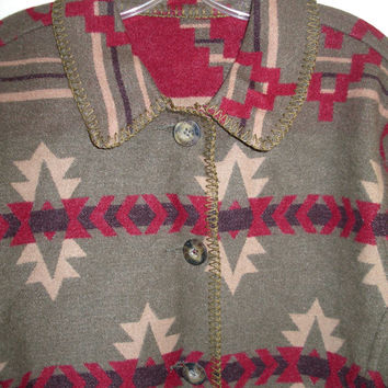 Vintage Woolrich Autumn Indian Print Blanket Wool Reversible Jacket w/Pockets Sz. L