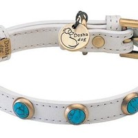 'Pebbies' Turquoise Stones on White Leather Dog Collar - Small Breeds