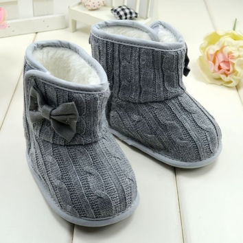 Baby Girl Knitted Boots Bowknot Faux Fleece Soft Sole Shoes Kids Woolen Yam Knitted Fur Winter Snow Boots [7672873926]