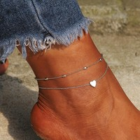 Double Chain Mini Heart Ankle Bracelet
