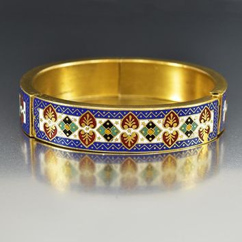 Antique Enamel Gilded Gold Victorian Bangle Bracelet