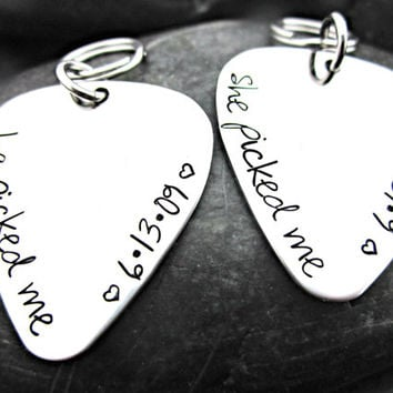 He Picked Me / She Picked Me - Guitar Pick Shaped Stainless Steel Keychain - Anniversary - Wedding