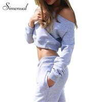 athleisure tracksuit for women sporty style off shoulder short sweatshirts and sweatpants grey active suit