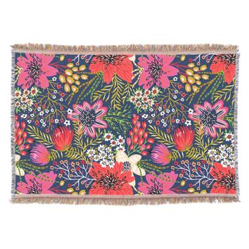 Vintage Bright Floral Pattern Fabric Throw Blanket