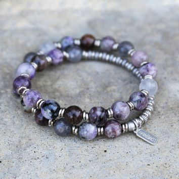 Charoite and Quartz Crystal Mala Bracelet