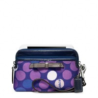 Coach :: Poppy Double Zip Wristlet In Watercolor Dot Print Fabric
