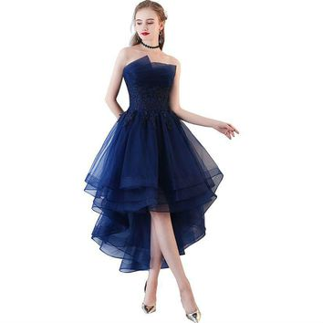Navy Blue Evening Dresses Short Front Long Back Party Gowns Lace Applique Strapless Formal