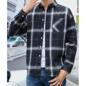 Mens Casual Long Sleeve Button Front Plaid Shirt in Black