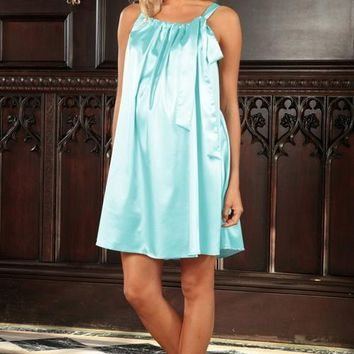Light Blue Charmeuse Halter Swing Chic Party Dress