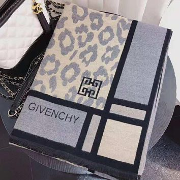 GIVENCHY Trending Women Men Stylish Leopard Grain Cashmere Cape Scarf Scarves Shawl Accessories