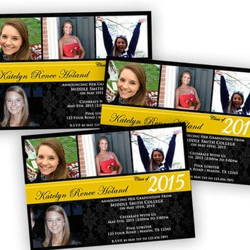 College Graduation Announcements - Printable Graduation Announcements - Graduation Invitation - Custom School Colors