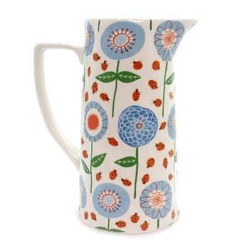 Tabletop FLORAL PITCHER Ceramic Ladybug Da7558
