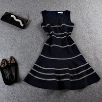 Casual Striped Zipper Back Sleeveless Flounce Blue Mini Dress