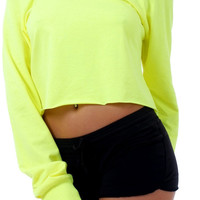 WOMEN'S / JUNIORS NEON COLOR LONG SLEEVE CROPPED TEE SHIRT DROP SHOULDER BLOUSE