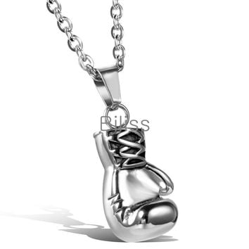 SHIPS FROM USA 2017 Fashion Lovely Mini Boxing Glove Necklace Boxing match Jewelry 316L Stainless Steel Cool Pendant for Men Boys Gift Biliss