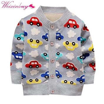 WEIXINBUY Winter Baby Boy Coats Warm Clothes Cartoon Car Pattern Button Cashmere Knitting Clothing